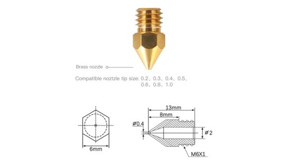 creality brass nozzles variety pack dimensioned drawing